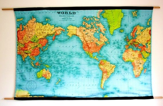 Vintage world map world map wall hanging vintage school chart vintage world map huge wall hanging organic cotton 57 inches 145cm long gumiabroncs Images
