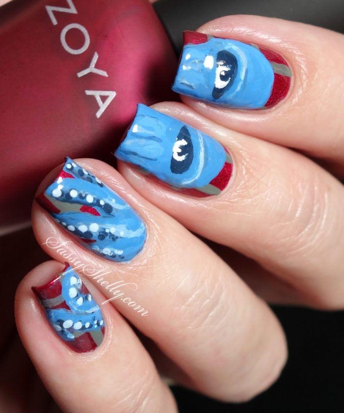 Cthulhu Nail Art inspired by Omegon - fan art   Sassy Shelly.  #nails #nailart #cthulhu
