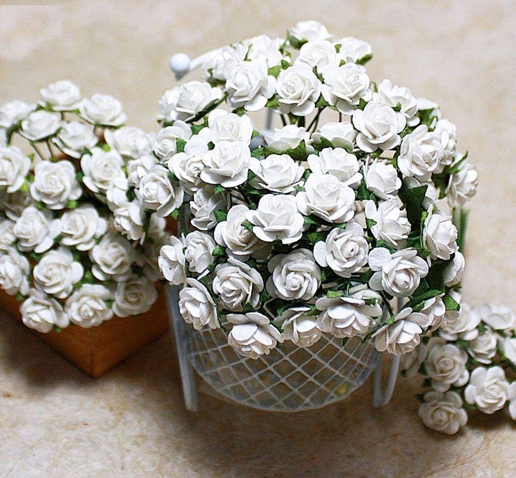 White Rose Scrapbooking Craft DIY 100pcs 12mm Flower Saa Mulberry Paper Wedding