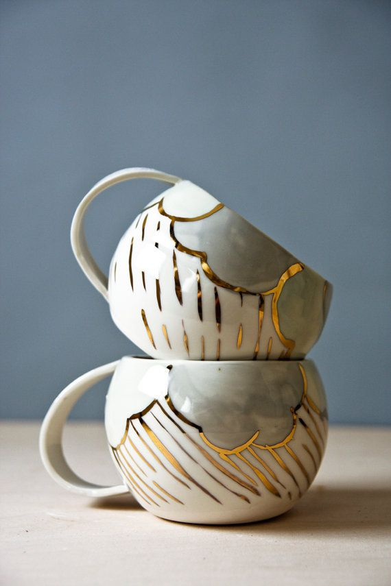 Porcelain Cups White Pastel And Gold Ceramic Large Drinking Cup Tea Unique Coffee Rainy Day Karoart Ceramics