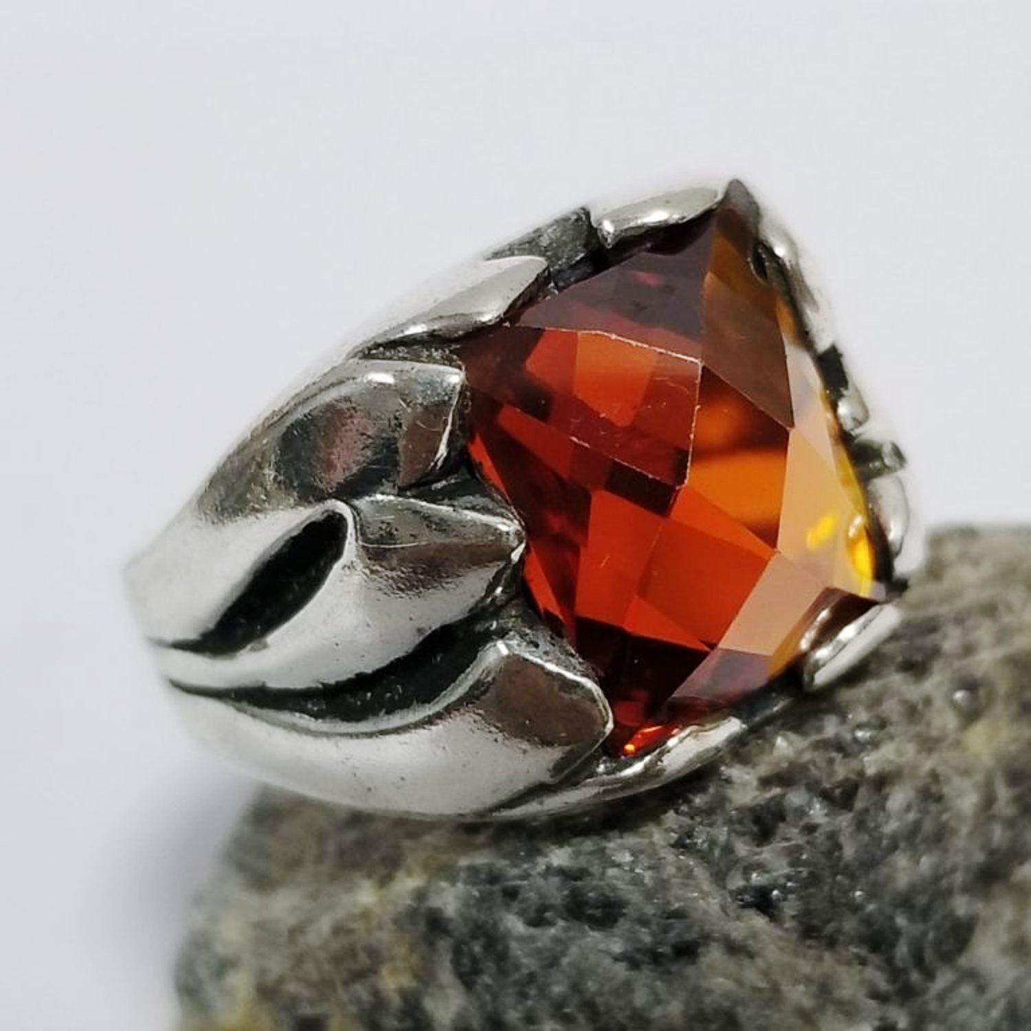 925 sterling silver men ring natural square red