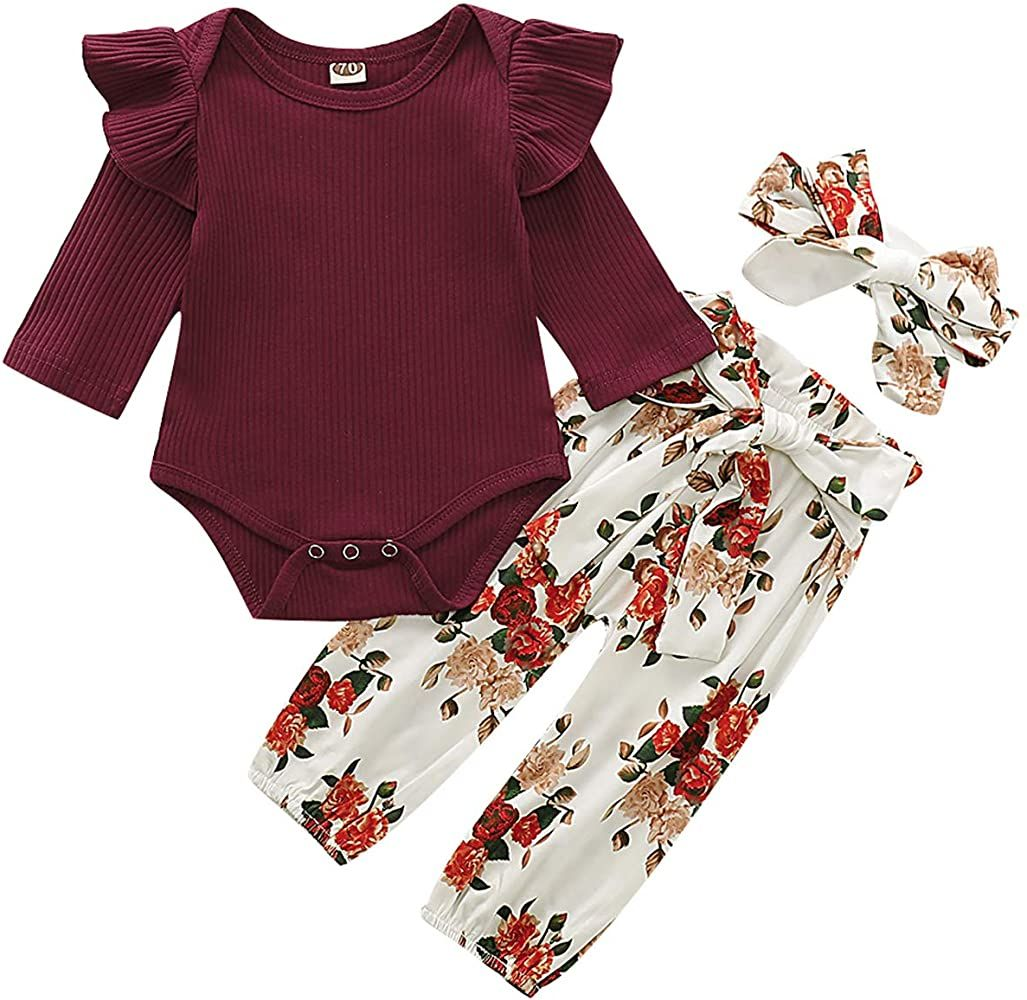 Headband Fall Outfits Floral Pants 3Pcs Newborn Baby Girl Clothes Infant Ruffle Romper