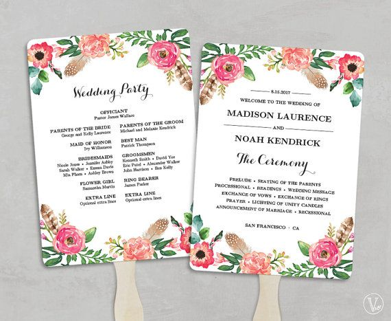 This is an INSTANT DOWNLOAD printable wedding program template - wedding program template