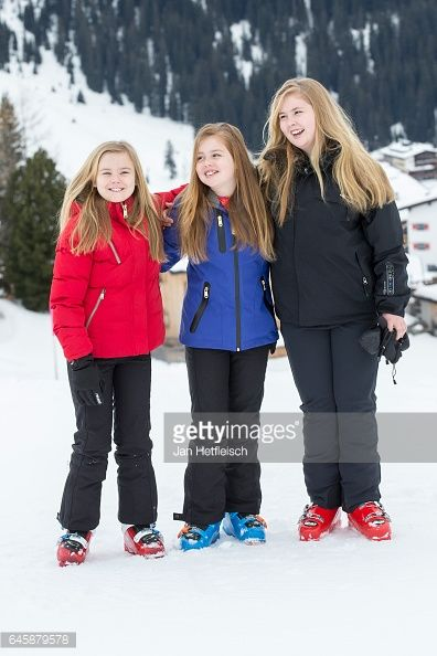Princesses Amalia, Alexia and Ariane pose for the media during their annual wintersport holidays on Feb. 27, 2017 in Lech, Austria.