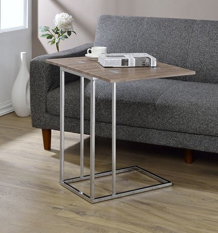 Acme Acme Danson Side Table In Weathered Oak Chrome Weathered