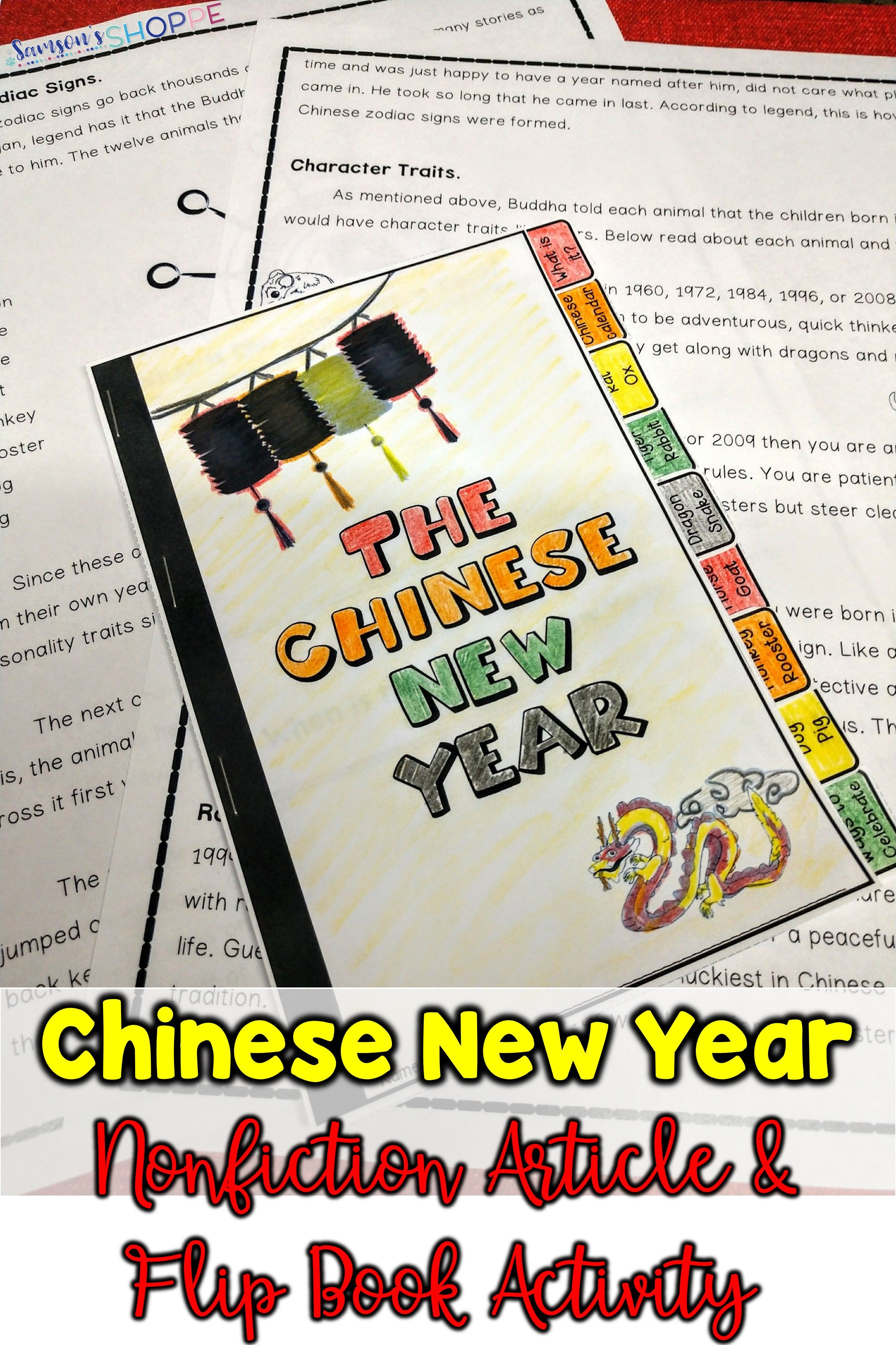 Chinese Lunar New Year Article And Flip Book Activity