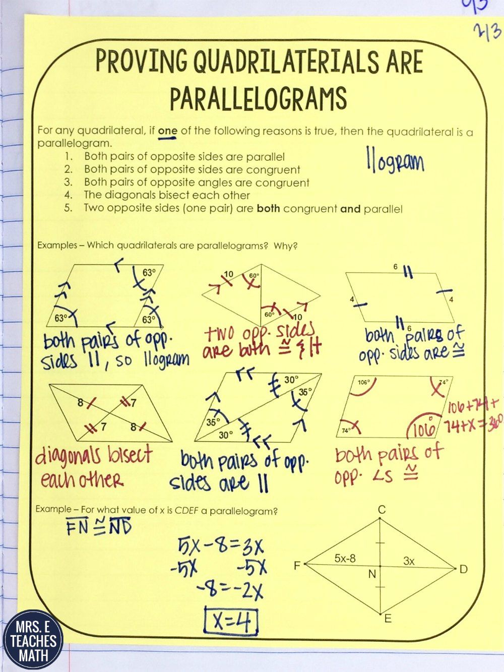 Quadrilaterals INB Pages - Part 1   Math, School and Geometry proofs