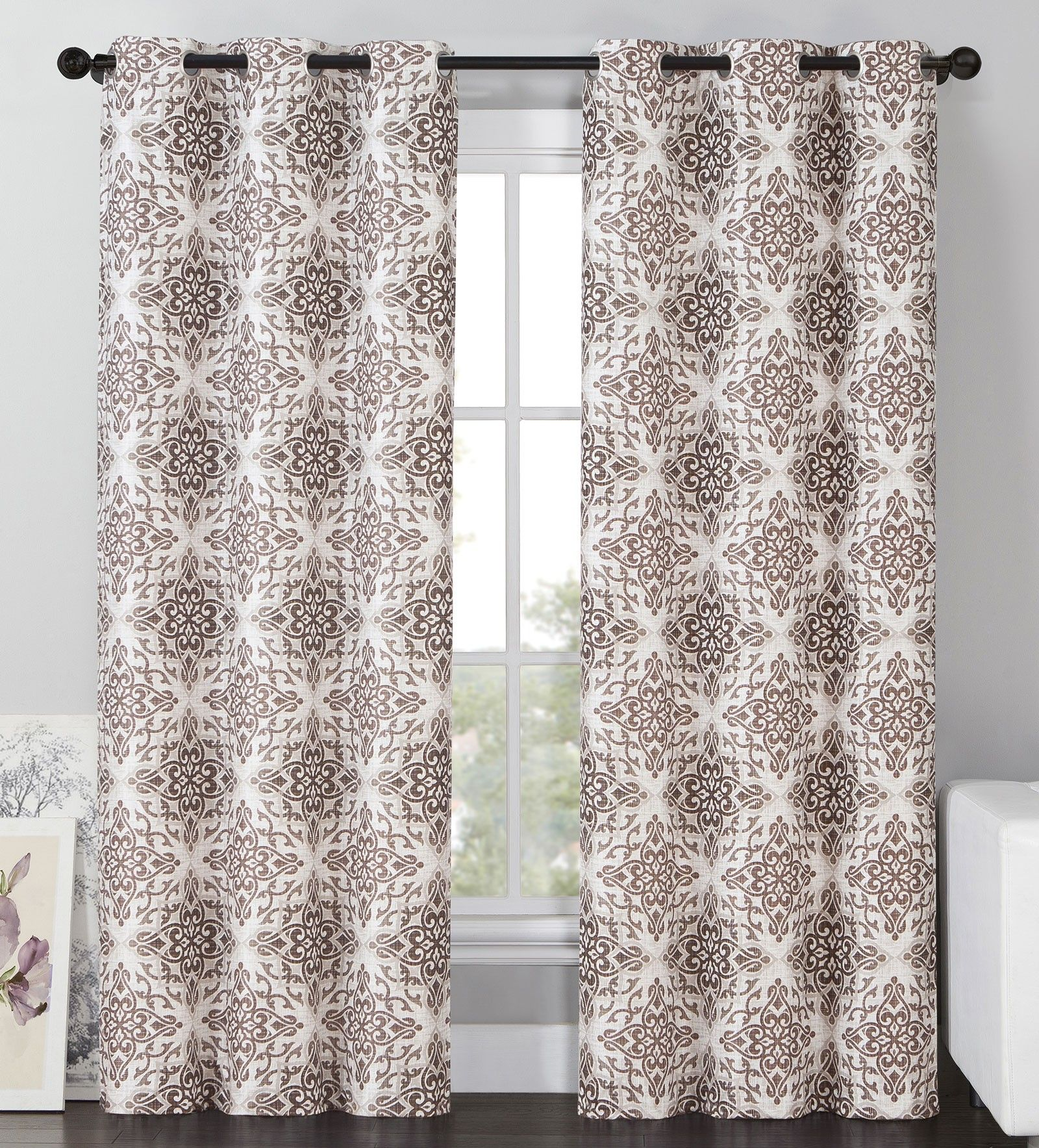 Curtain pair overstock shopping great deals on lights out curtains - Vcny Sylvia Blackout Window Curtains Grommet Thermal 2 Panel Set Brown Medallion 84 Length