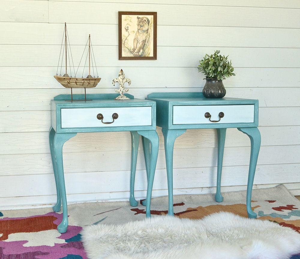 Vintage Queen Anne Coastal Teal Bedside Tables with White Accent ...