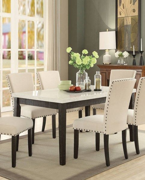 Acme Furniture Nolan White Dark Oak Dining Table Square Dining Table Set Dining Table Setting Square Dining Tables