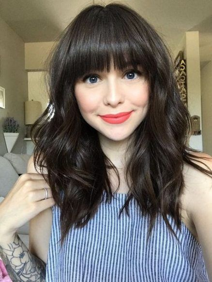 47 Ideas Hairstyles With Bangs Medium Round Faces For 2019 Bangs With Medium Hair Thick Hair Styles Medium Length Hair Styles