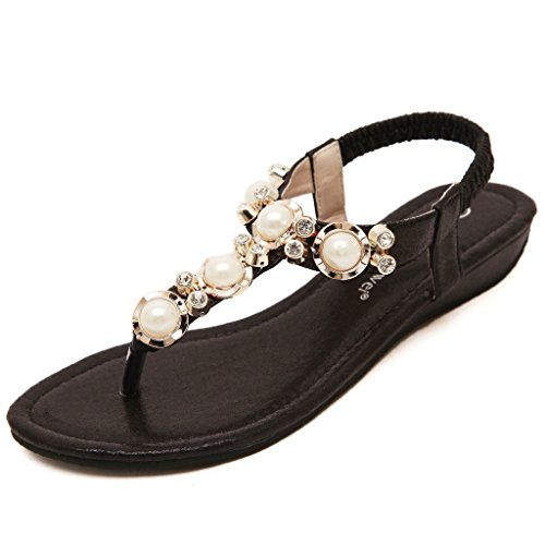a82cf70113e5d Puuyfun Women Flat Sandals Rhinstone Beach Sandals Casual ShoesBlack6BMUS     Learn more by visiting the image link.(This is an Amazon affiliate link  and I ...
