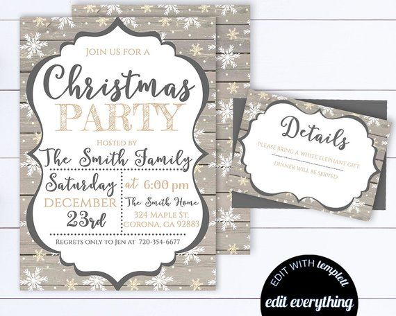 Christmas Party Invitation Template Holiday Party Editable Invite
