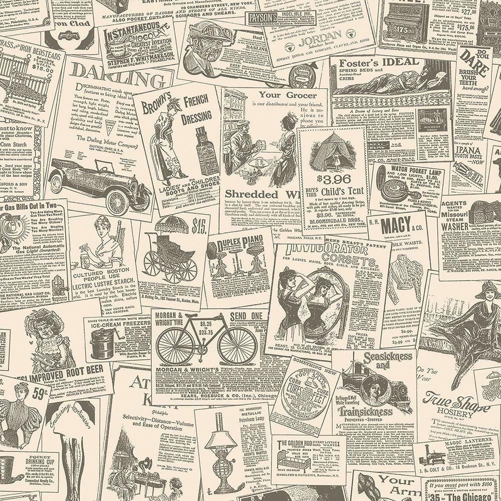 Norwall Newspaper Vinyl Strippable Roll Covers 56 Sq Ft Beige Black In 2021 Newspaper Wallpaper Vintage Newspaper Norwall