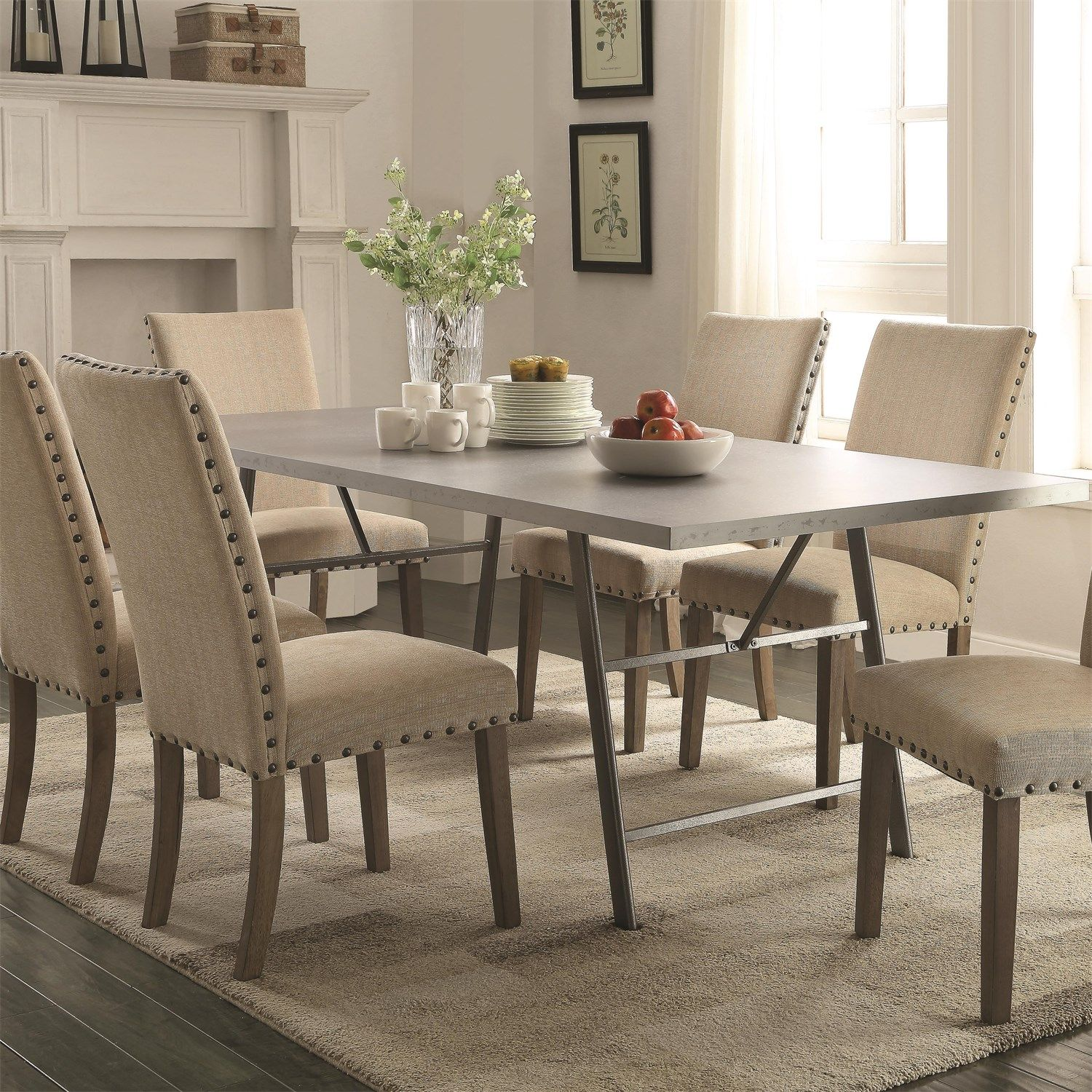 Coaster Furniture 105581 Amherst Dining Table In Natural Gunmetal