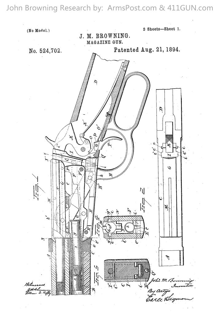 John Browning's Patent for the Winchester Model 1894 Lever