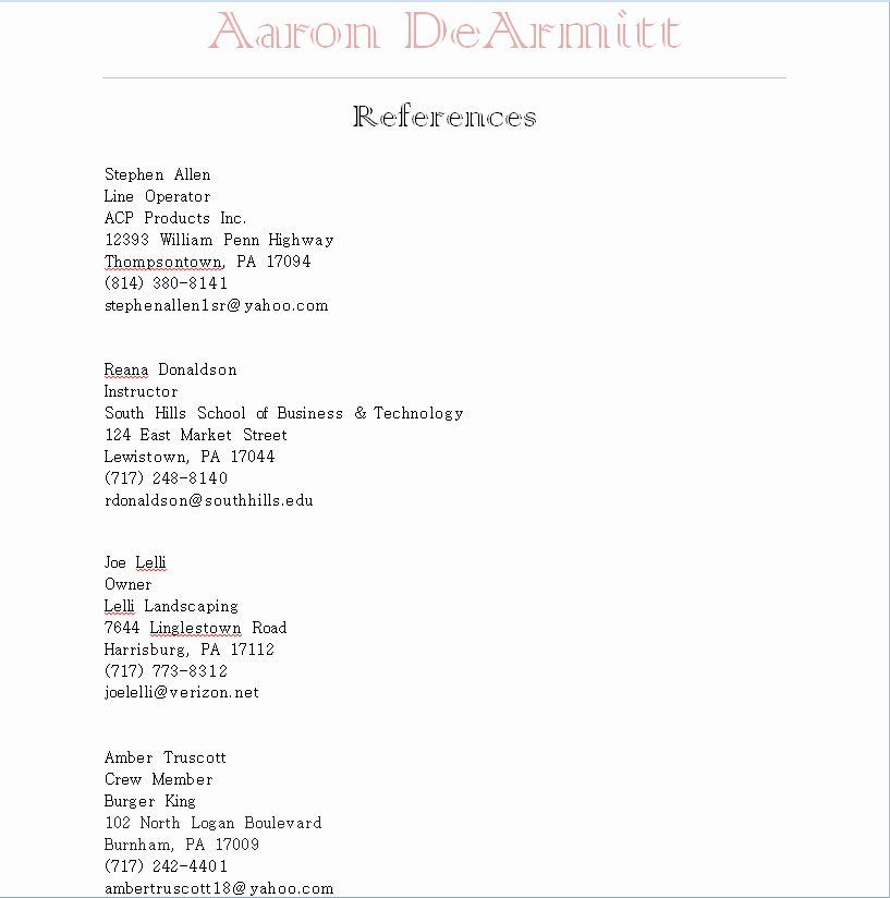 Resumes References Format New Resume Cover Letter And