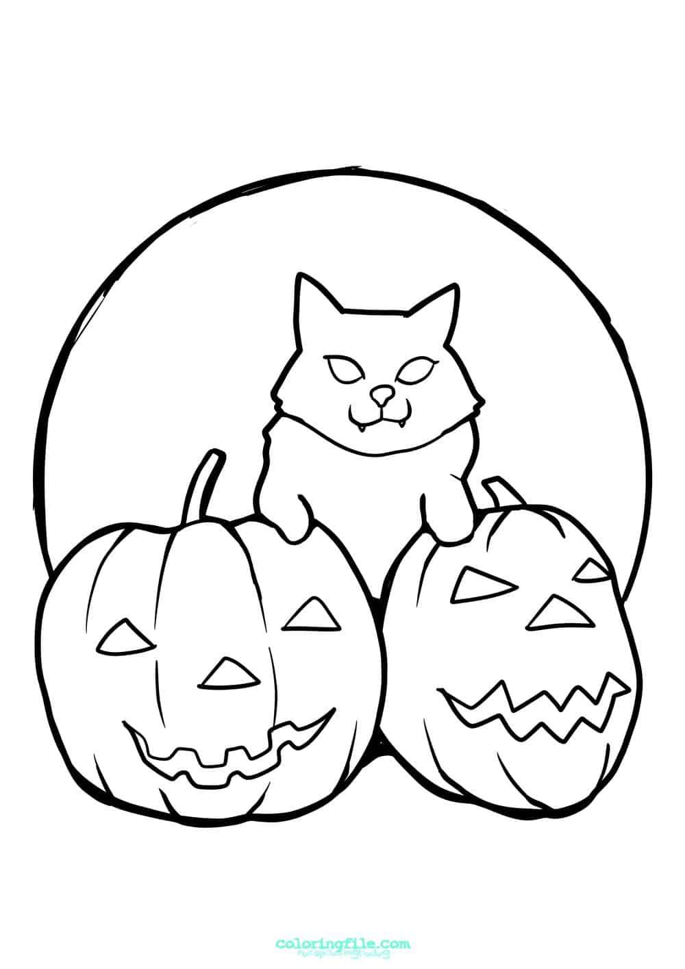 Halloween Cat On Pumpkins Coloring Pages Pumpkin Coloring Pages