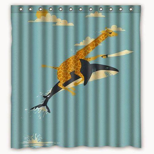 Giraffe Pirate Riding A Shark Shower Curtain Cute Shower
