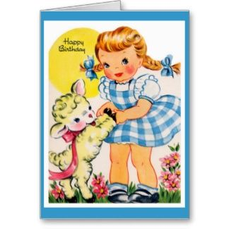 R Vintage Birthday Greeting Graphics  Little Girl Birthday Cards