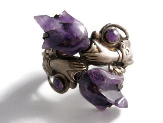 Massive Art Deco Sterling Silver and Reticulated / Carved Amethyst Sculpted Cuff Bracelet. $1,043.00, via Etsy.