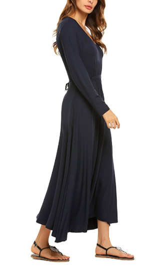 2e64cf5f33 Amazon   Women s Casual Long Sleeve V-Neck Plus Size Flowy Gowns Maxi Dress  Just  13.99 W Code (Reg    34.99) (As of 5 4 2018 12.05 AM EDT)