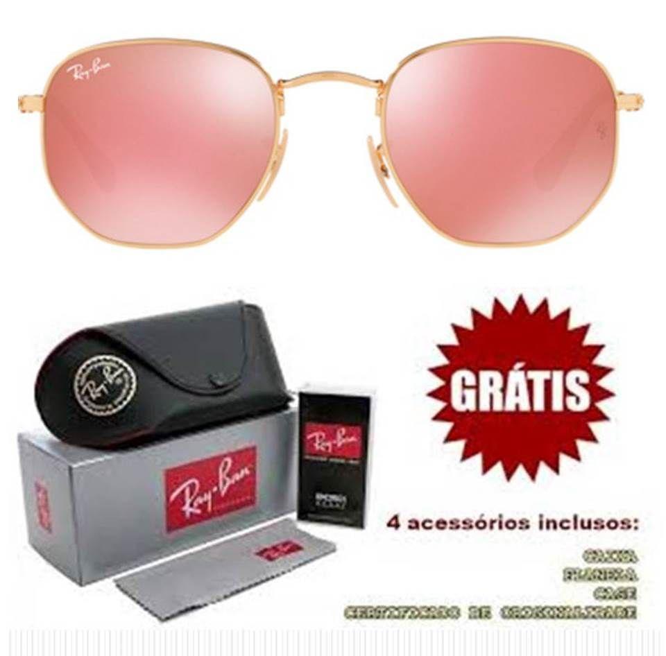 836108d94 Ray ban Hexagonal Rosa Espelhado Replica Perfeita Primeira Linha ...