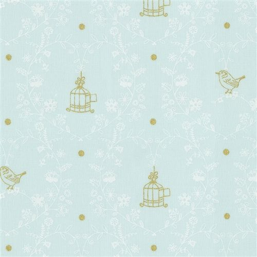Light Mint And Gold Bird Fabric By Carousel Designs
