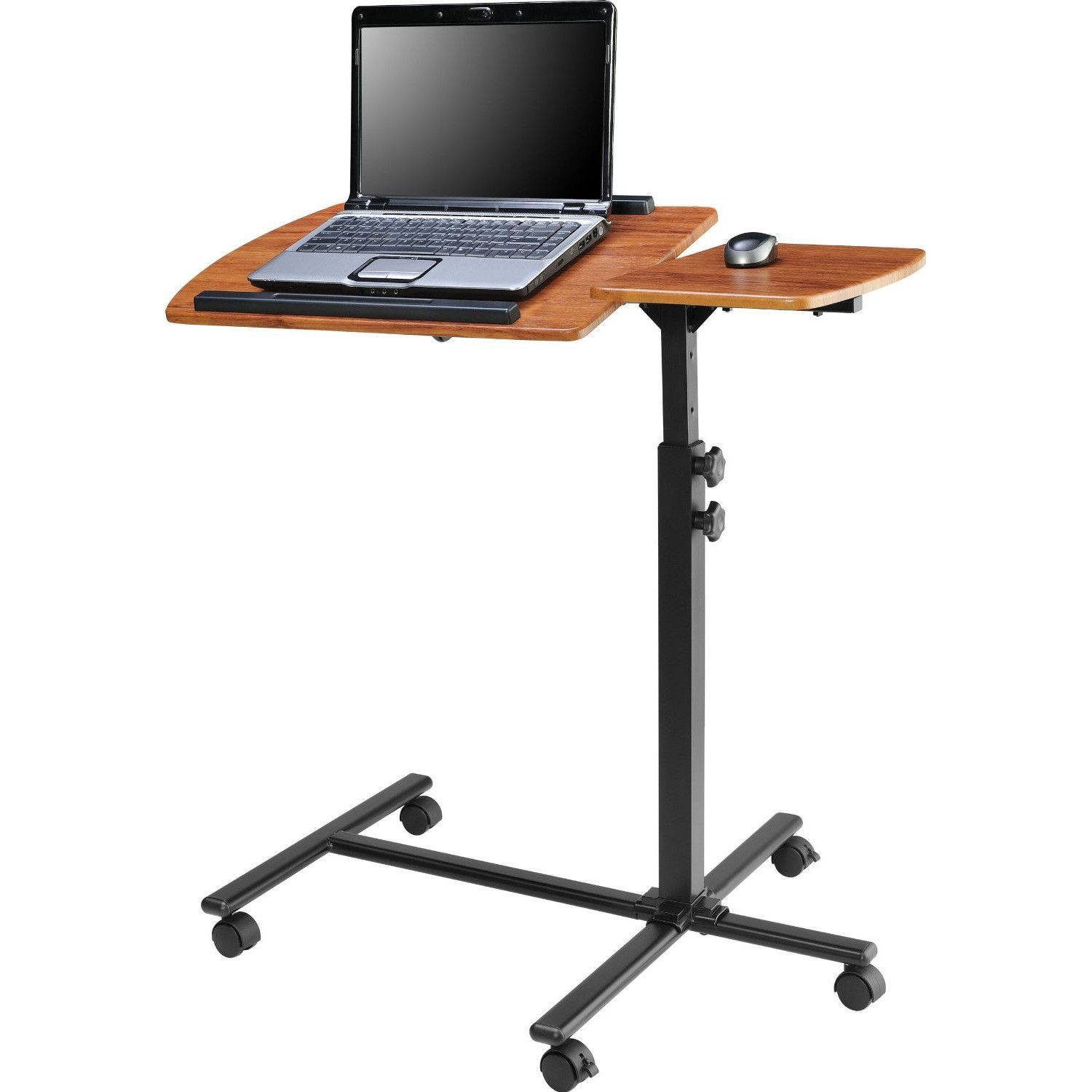 Adjustable height laptop computer standing desk cart with wheels desks work surface and room - Computer cart walmart ...