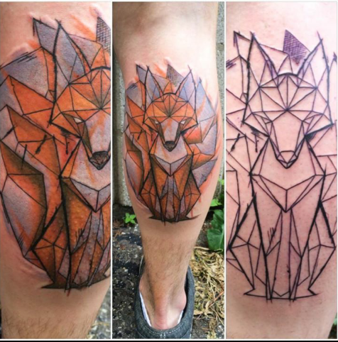 My Geometric Nine Tailed Fox Done By The Magnificant Dean Sleiman Of Radient Maiden In Windsor Ontario Imgur Fox Tattoo Geometric Fox Tattoo Tattoos