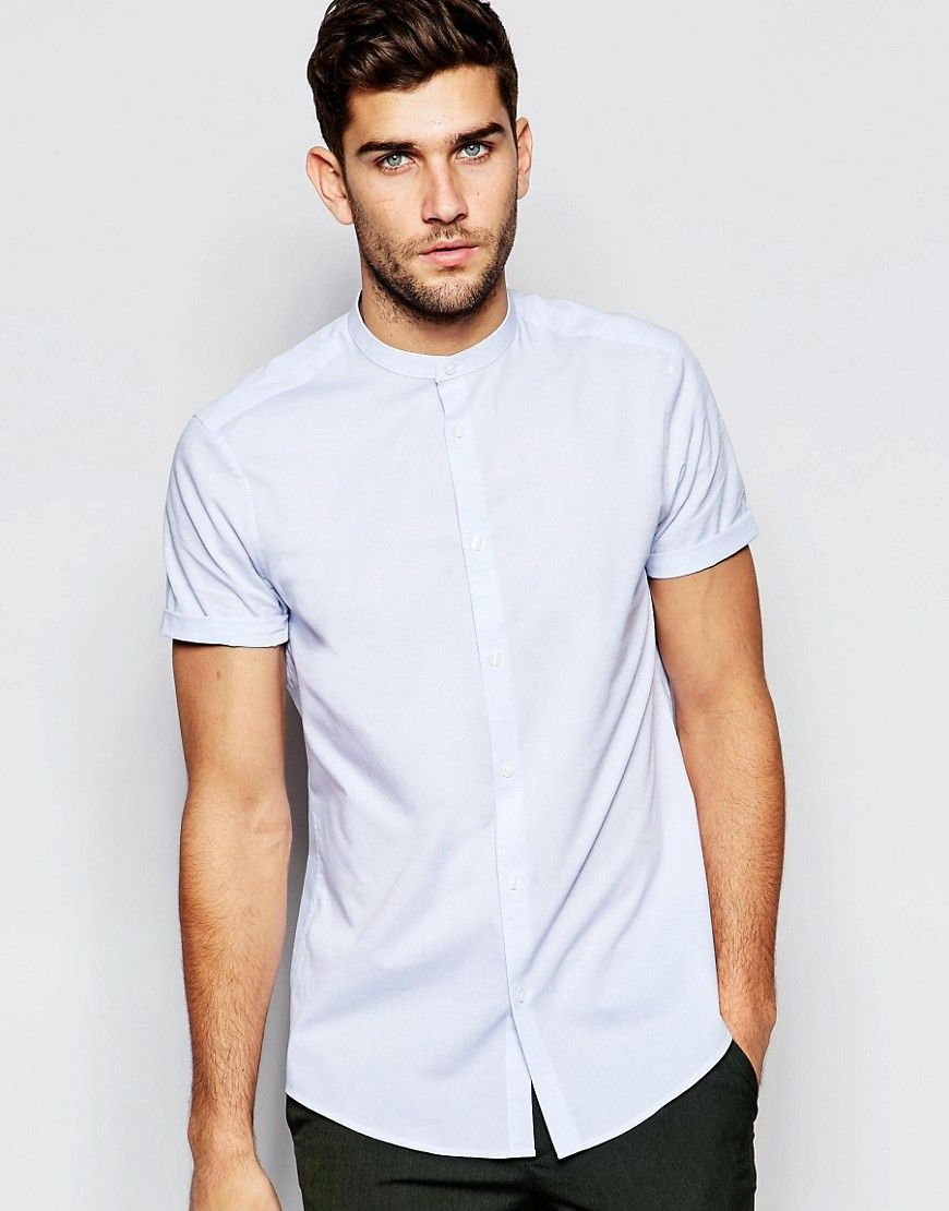 c5b03bc693b Image 1 of ASOS Blue Texture Shirt With Grandad Collar In Regular ...