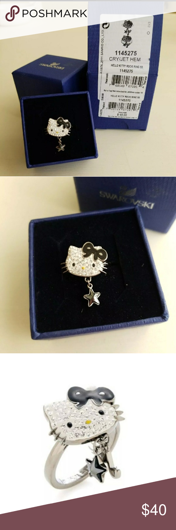 0379d9a15 Swarovski Hello Kitty Rock Star Ring Size 55 = US size 7 Paid $90. This