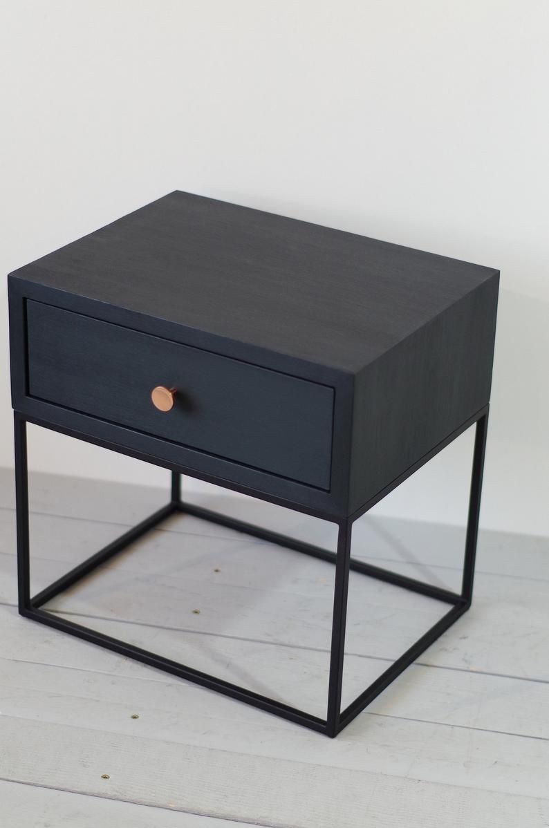 Black Industrial Nightstand Mid Century Style Solid Oak Wood And Black Finish Metal Legs Bedside Table End Table No Id 02 02b In 2020 Bedroom Night Stands Black Bed Frame Black Bedside Table