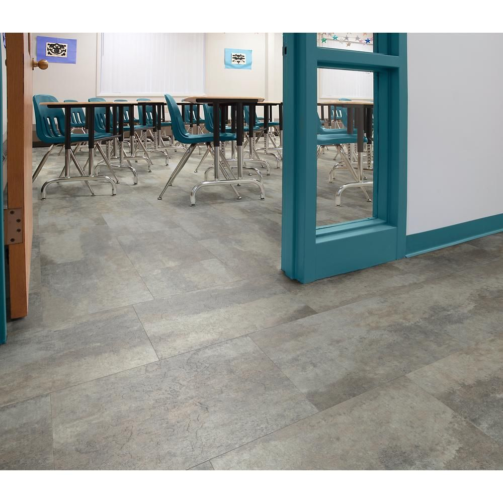 Floorworks Quarry Slate 12 In X 18 In Luxury Vinyl Tile Flooring 24 Tiles 36 Sq Ft Lvslatet216 The Home Depot Luxury Vinyl Tile Flooring Luxury Vinyl Tile Vinyl Tile Flooring