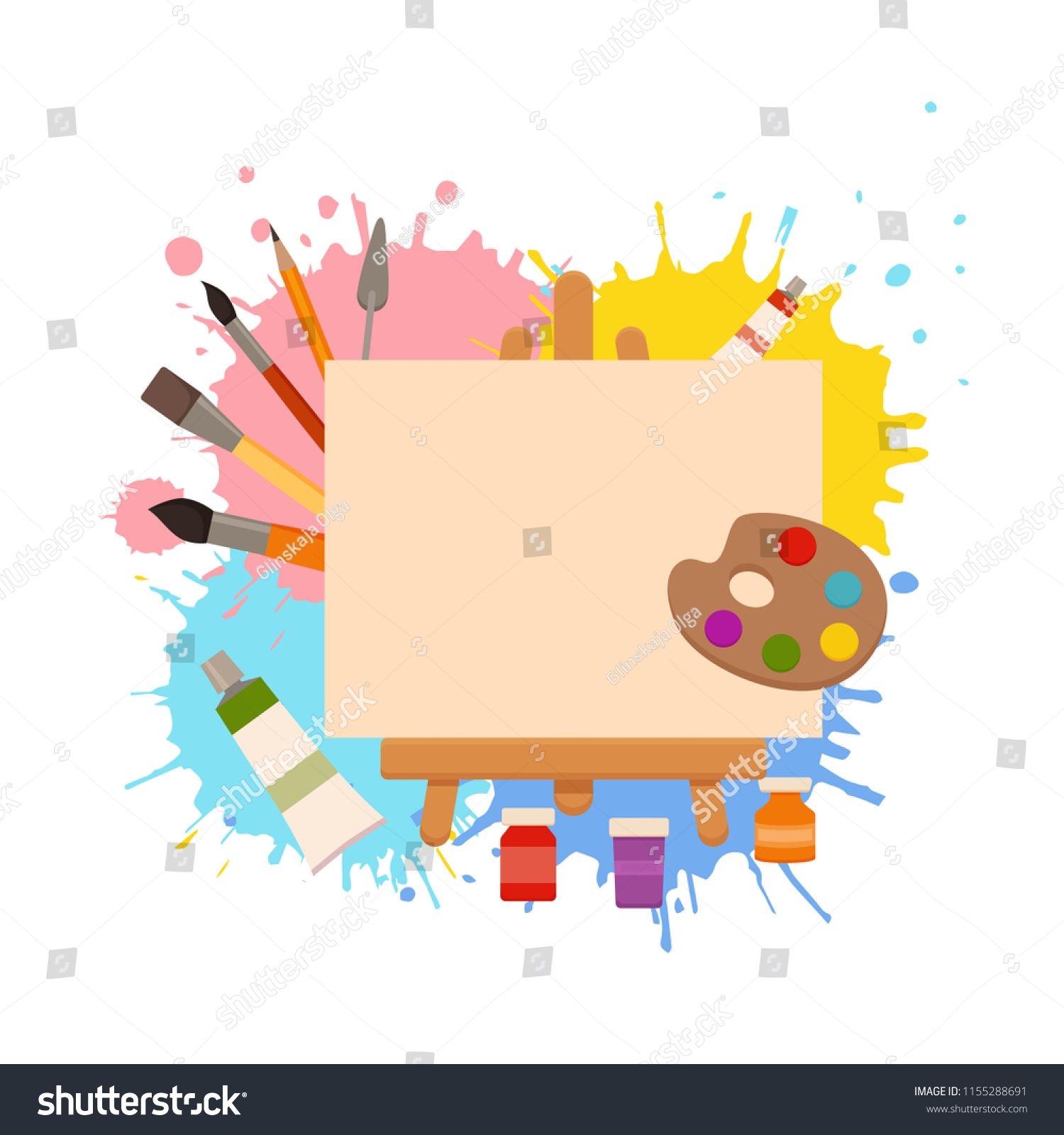 Painting Tools Elements Cartoon Colorful Vector Concept Art