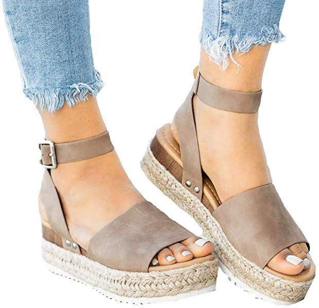 baa1a5faaea85 Amazon.com: Athlefit Women's Platform Sandals Espadrille Wedge Ankle ...