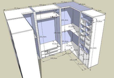 Projetos de closets pequenos com medidas | Armario, Vestidor y ...