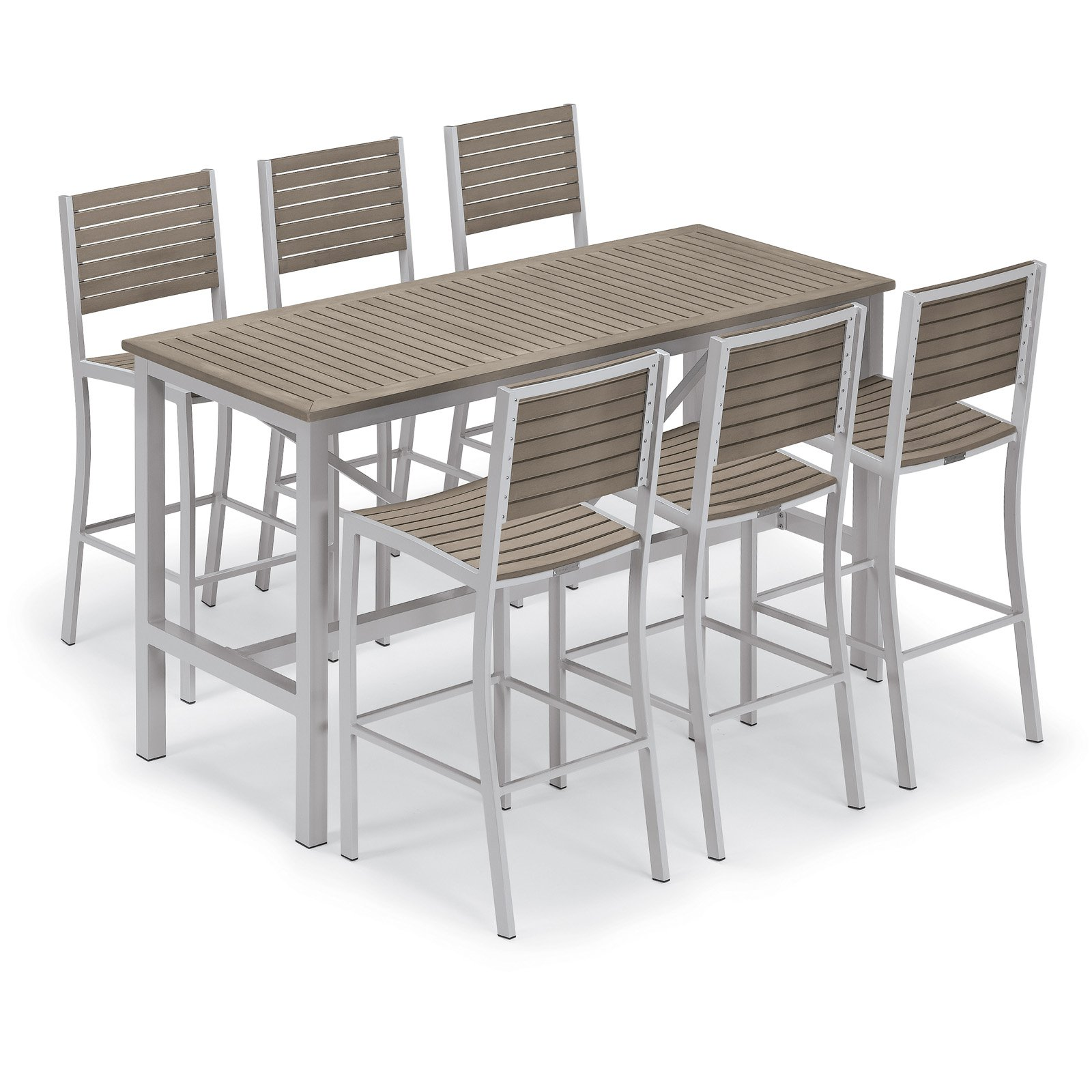 20d5151c640 Outdoor Oxford Garden Travira Tekwood 7 Piece Bar Height Patio Dining Set