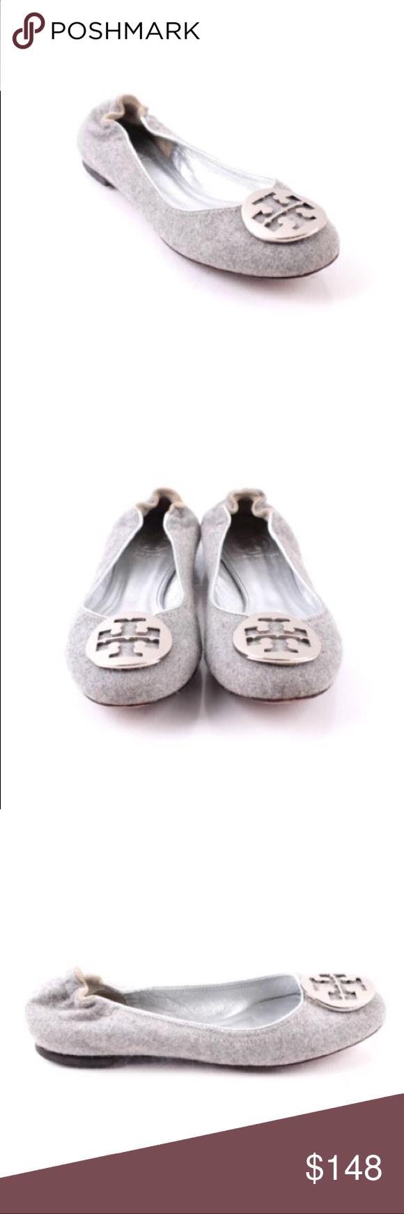 e30988d610d1 Tory Burch Gray Wool Felt T Logo Reva Ballet Flat Limited edition Tory Burch  Gray Wool Felt T Logo Reva Ballet Flat in excellent used condition.