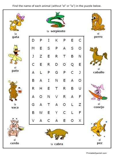 Simple Spanish vocabulary search-a-word puzzles - printable ...