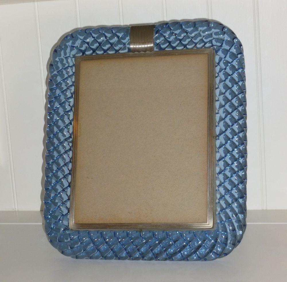 RARE Venini Murano Glass Twisted Picture Frame Blue Art Deco ...