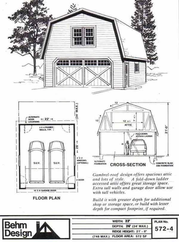 Two car garage with gambrel attic truss roof plan 572 4 22 for Gambrel roof house plans