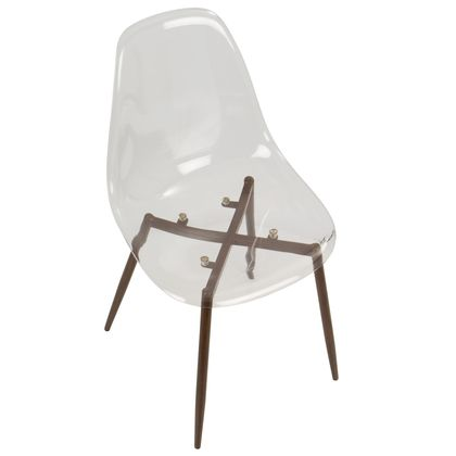 Marvelous Lumisource Clara Mid Century Modern Dining Chair In Walnut Ncnpc Chair Design For Home Ncnpcorg