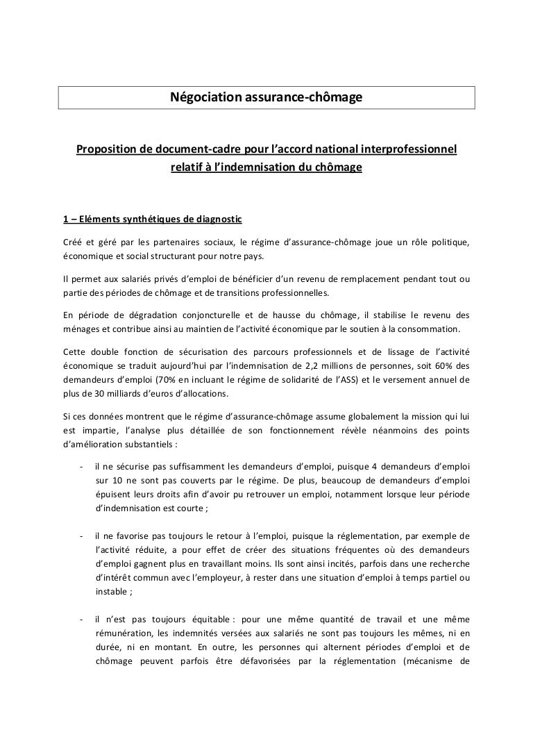 Négociation assurance-chômage - le document du Medef by lesechos2 via slideshare