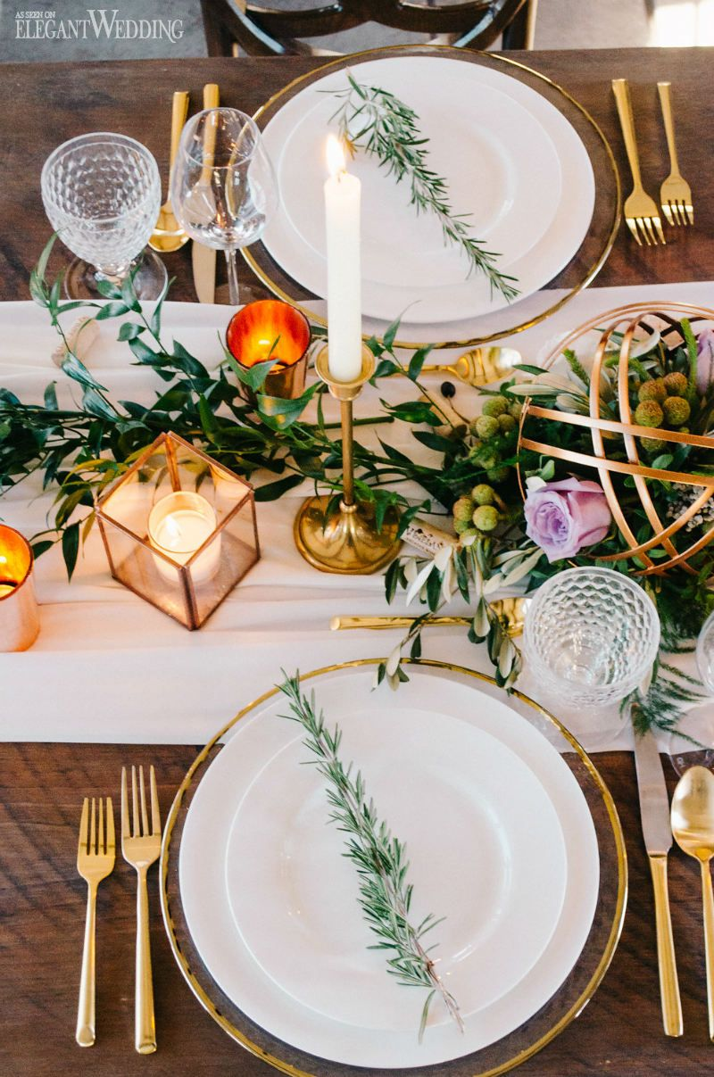 rustic table setting decor with copper and greenery vineyard wedding ideas on www. Black Bedroom Furniture Sets. Home Design Ideas