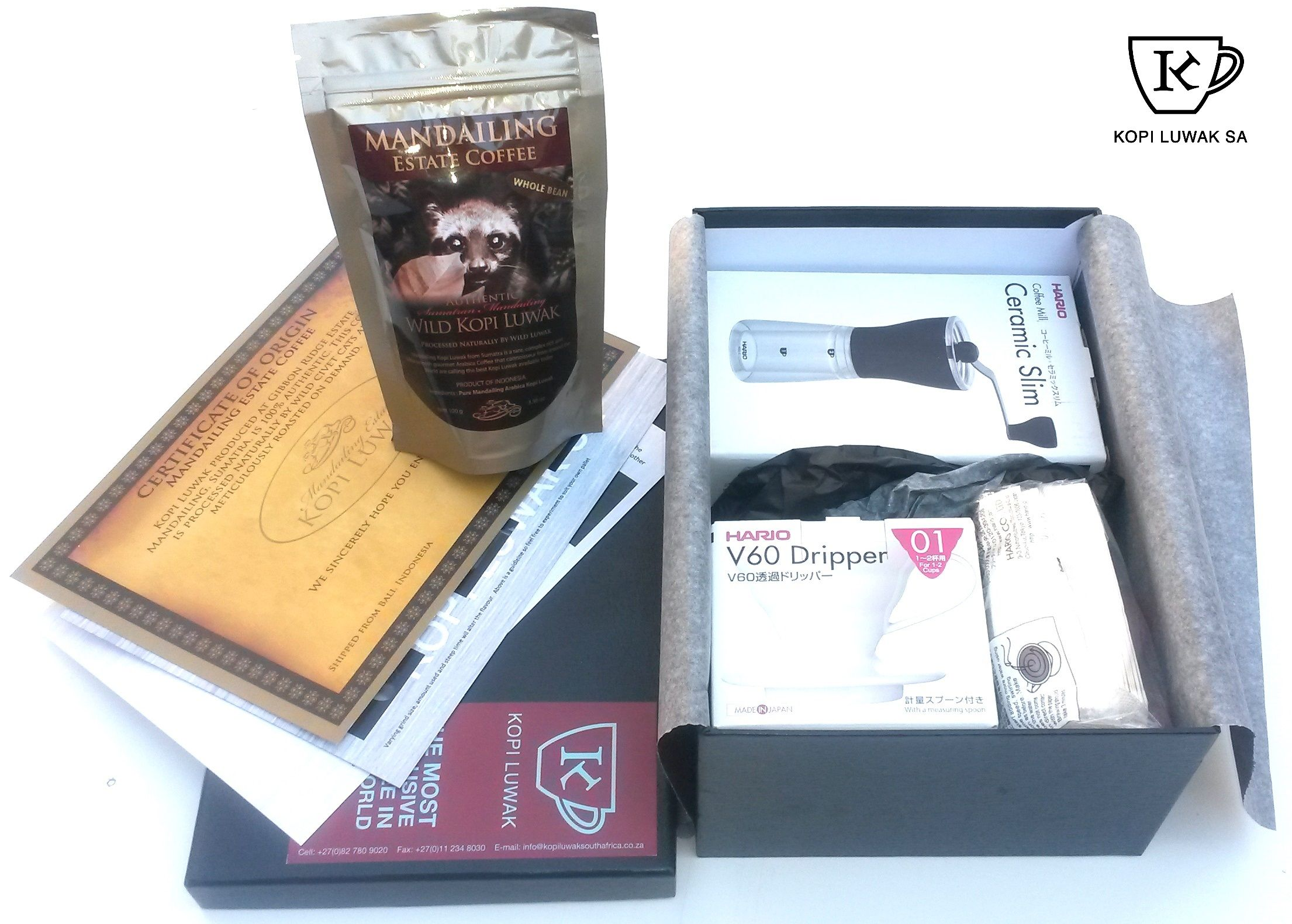 Hario & Wild Kopi Luwak Gift Box Tea bottle, Hario, Kopi