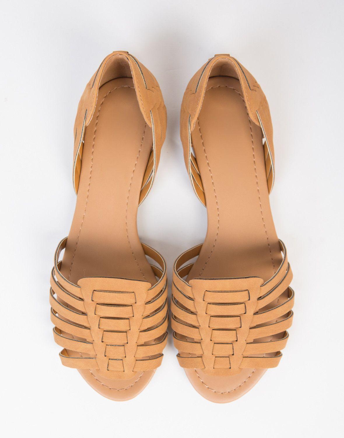 Woven Open Toe Flats | Peep toe boots
