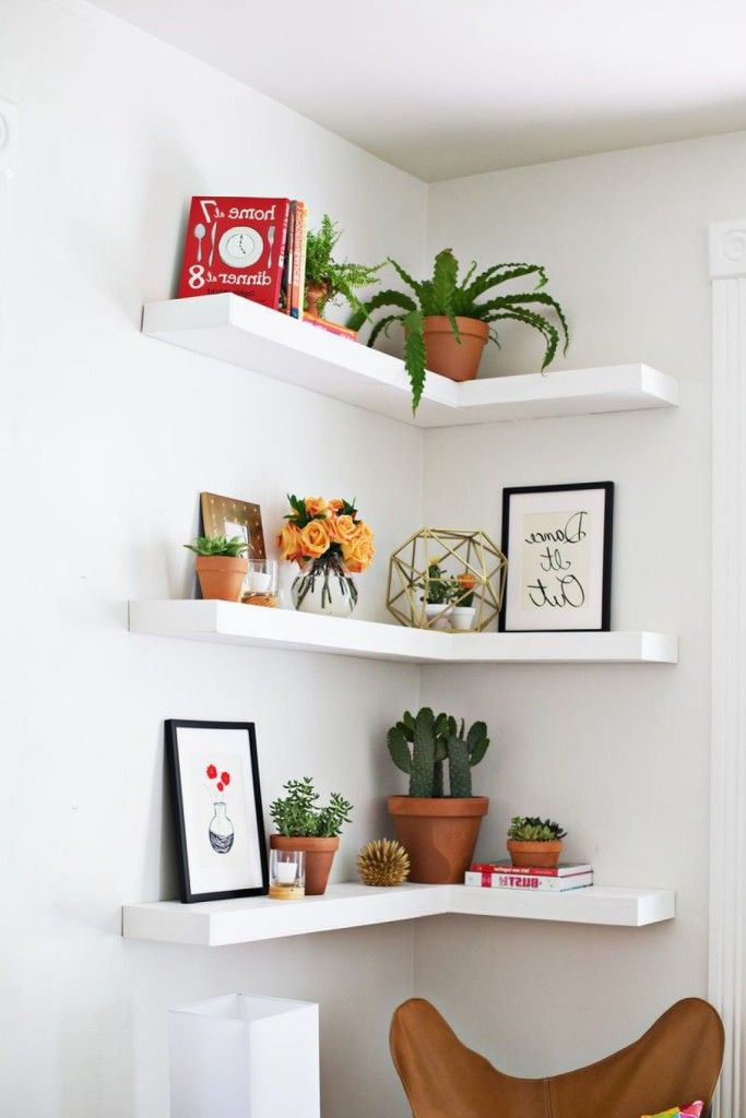 White solid wood corner living room floating shelves for Shelving ideas for living room walls