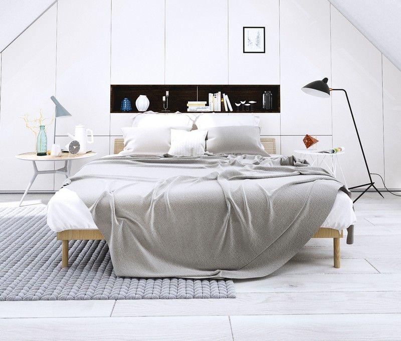 Schlafzimmer mit Dachschräge in Weiß einrichten - Kleiderschrank - schlafzimmer ideen weis modern