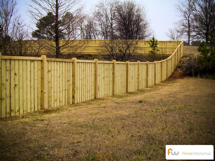 Fence On A Slope Traditional Privacy Fences Pinterest